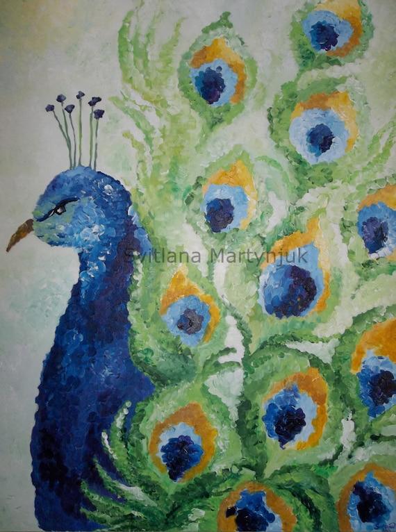 items similar to peacock original acrylic painting on etsy