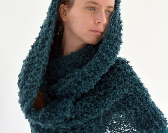 Boucle hand knit loop cowl scarf in petrol blue