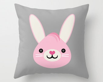 Throw Pillow Cover - Cute Bunny - Gray Pink White - 16x16, 18x18, 20x20 - Pillow Case Original Design Home Décor by Adidit