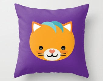 Throw Pillow Cover - Cute Cat - Orange Purple Teal - 16x16, 18x18, 20x20 - Pillow Case Original Design Home Décor by Adidit