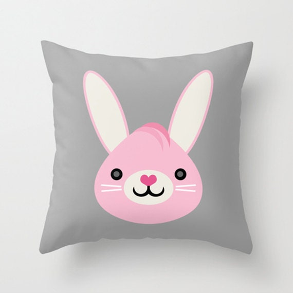 Cute Bunny Pillow : Throw Pillow Cover Cute Bunny Gray Pink White 16x16