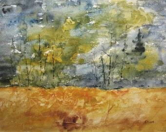 Original Watercolor Landscape Painting 12X16,watercolor art,landscape painting,forest painting,woodland landscape, tree art,forest art.