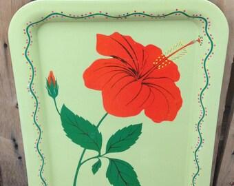 Vintage Metal Hibiscus Flower Tray