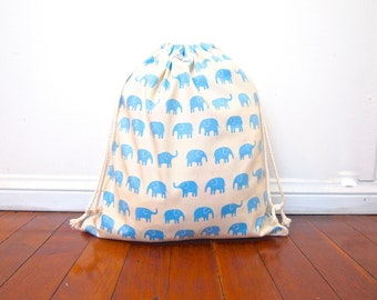 Large Drawstring Bag / Library Bag / Laundry Bag - Blue Natural Elephant