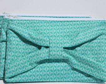Bow Clutch Two Toned Teal/Mint Geometrical Cotton Print Zipper date evening clutch