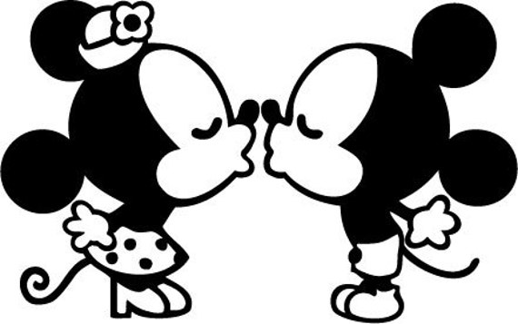 Classic Mickey and Minnie Mouse kissing vinyl by ...