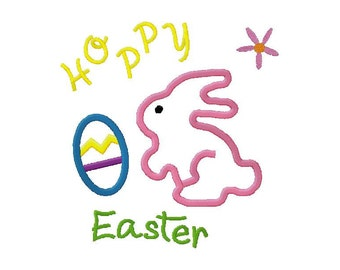 Hoppy easter embroidery applique design instant download