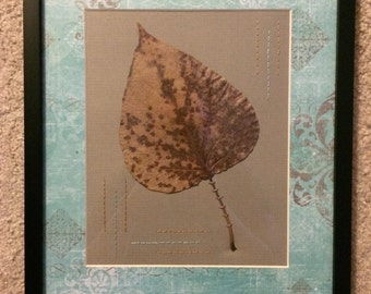 Leaf Art with hand embroidery