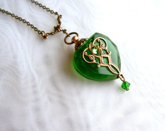 Vintage Inspired Brass Filigree And Swarovski Rhinestone Green Crystal Heart Perfume Bottle Necklace