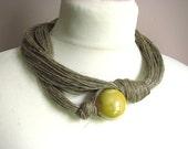 Ceramic Yellow - linen necklace