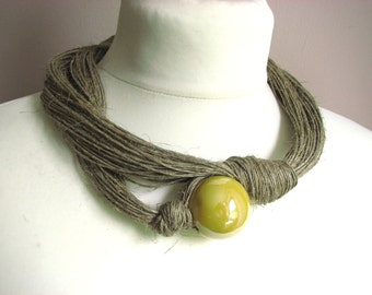 Ceramic Yellow - linen necklace