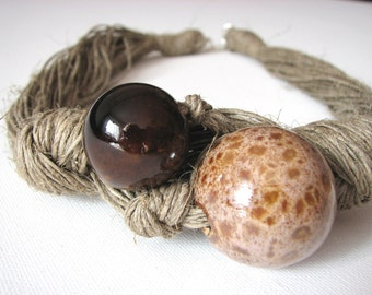 Ceramic Brown - Coffee - linen necklace
