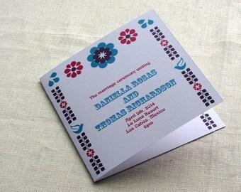 Mexican Wedding Program - Mexico Vintage Floral - Beach Tropical Ceremony Program - Square