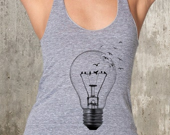 Birds in Broken Light Bulb - Women's American Apparel Tank - Available in XS, S, M and L