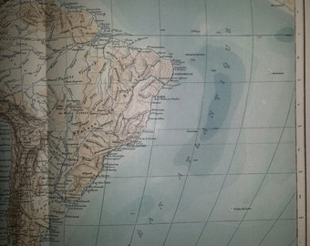 Antique Map of South America  Physical 1891 Large Map of South America 18 by 14 inches