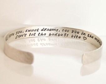 Woman's Wide sterling silver cuff, 8mm wide silver cuff, personalized silver cuff, inside outside message cuff, hand stamped message cuff
