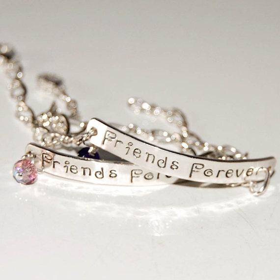 Silver Bracelet Set, best friend bracelets, sterling silver matching bracelets, pair of custom bracelets, friends forever bracelets