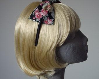 Black Headband, Black Bow Headband, Black-Pink-Lilac Floral Bow Headband, Black Bow Aliceband, Black Hair Bow, Black Hair Accessories