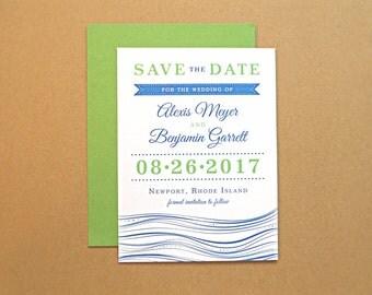Save the Date Wedding Card, Nautical Theme with Modern Typography, Beach Wedding