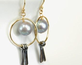 Pearl Dangle with Silver Tassel by Agusha. Hoop Earrings. Oxidized Silver Dangle. Modern Hoop Earrings