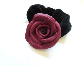 3rd anniversary gift - leather flower Ponytail Holder-  Burgundy Flower Scrunchie- purple flower -leather rose scrunchie