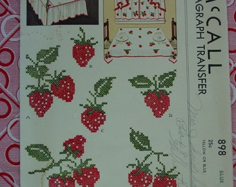Vintage Kaumagraph Transfer Pattern c.1941 McCall No.898 Strawberries in Cross Stitch, Unused