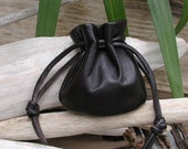 Black Leather Pouch Bag - Coin Purse -  Black Bag -  Shirlbcreationstoo Handmade in the USA
