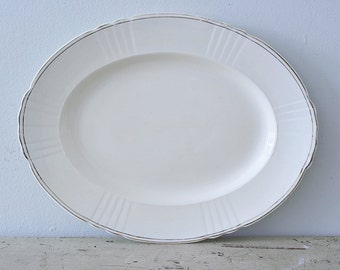Beautiful Large Vintage Oval Serving Plate with Gold Rim - Myott Son & Co - Made in England