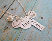 Family Necklace Sterling Silver Hand Stamped with Child's Name and Anniversary
