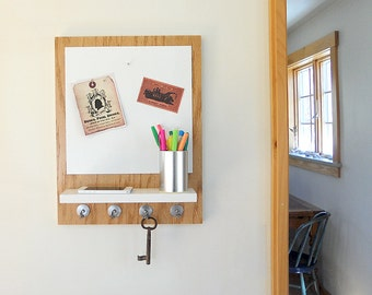 WOODEN MESSAGE CENTER  with Magnetic White Board, Shelf and Key Hooks, Natural Wood with White accents for Home and Office Decor.