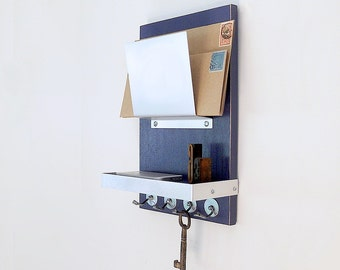 MODERN MAIL HOLDER with Key Hooks and Shelf, Modern Wooden and Metal Organizer, Wall Mounting for Home or Office.