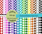 Checkered Rainbow Digital Paper Pack 300 dpi 12x12 30 papers For Personal or Small Business Use