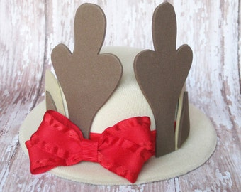 Girl Reindeer Hat | LAST ONE Red and Tan Mini Top Hat | Christmas Top Hat | Newborn, Baby, Toddler, Adult | Photo Prop