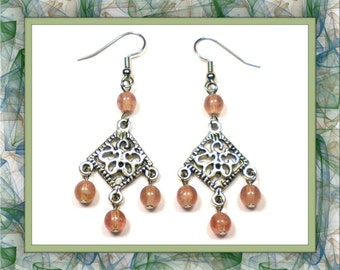 Pink Hurricane Chandelier Earrings (Pierced or Clip-On)