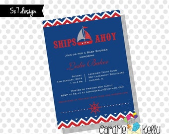 Printable 5x7 Nautical Patriotic Sailboat Yacht Baby Shower Invitation- Printable Digital File
