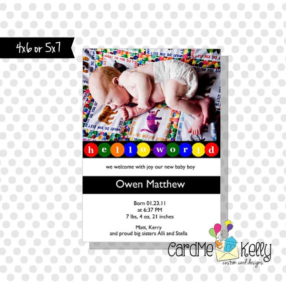 Printable Colorful Pastel or Primary Polkadot Heart Circles Hello World Birth Announcement - Digital File