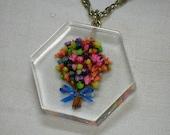 Mod Lucite Pendant Necklace, Day Glo dried Flower Bouquet. 1960s, 1970s.