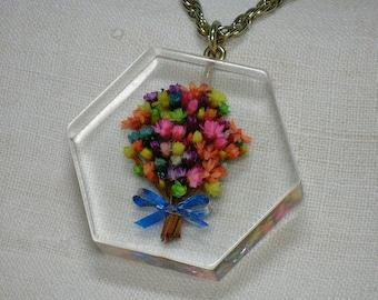 Mod Lucite Pendant Necklace, Day Glo dried Flower Bouquet