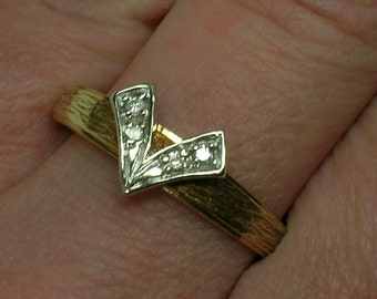 Retro Wedding Band, Ring Jacket for Solitaire, Abstract Floral, Textured. Size 10