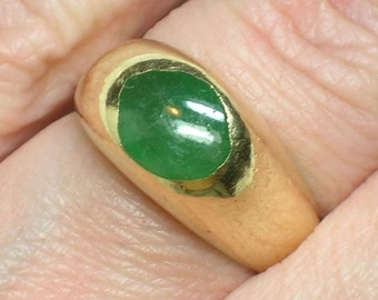 Emerald Ring, Ancient to Modernist, Medieval Stirrup Style, Unisex 14K Signet, Pinky. Size 4 3/4