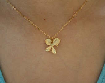 Gold Necklace, Gold Orchid Necklace, Orchid Jewelry, Bridesmaid Jewelry, Dainty Gold Necklace, Bridesmaid Gifts, Best Friend Gifts birthday