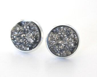 Silver Druzy Earrings, Drusy Earrings, Drusy Post Earrings Bridesmaids Gift Bridesmaid Earrings Stud Earrings, Birthday Gift Silver Earrings