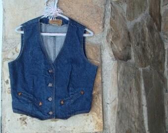 80's LEVI'S DENIM VEST vintage cowgirl prairie dark denim s M