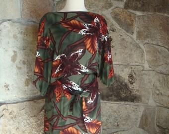 90s TROPICAL set CROP TOP pencil skirt vintage rayon tribal 2 piece suit S