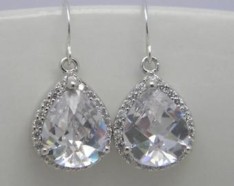 Silver Crystal Earrings, Bridal Earrings, Cubic Zirconia, Glass, Crystal Earrings, Silver, Bridesmaid Earrings, Bridesmaid Gifts