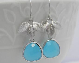 Ocean Blue Earrings, Dangle Earrings, Silver Leaf Earrings, Something Blue, Bridesmaid Earrings, Wedding Earrings