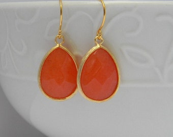 Orange Earrings Trimmed in Gold-Dangle Earrings-Drop Earrings-Bridal-Statement Earrings