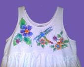 Dragonflies and Flowers Girls size 8 Sleeveless Dress Handpainted
