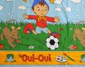 vintage 80s Oui-Oui Noddy bedspread fabric material two sided bedding sheet twin Enid Blyton Oui Oui material fabric Lucky 7