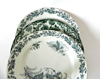 French Vintage teal blue and white transferwear floral plates ironstone three